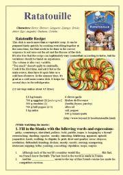 English Worksheet Ratatouille Movie