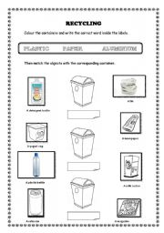 Printables Recycling For Kids Worksheets english teaching worksheets recycling recycling