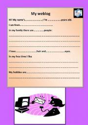 English Worksheets: MY weblog