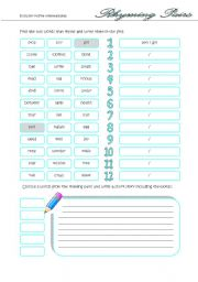 english worksheet rhyming pairs. Black Bedroom Furniture Sets. Home Design Ideas