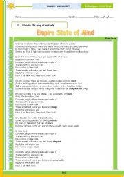 English Worksheet: Empire State of Mind