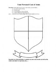 English worksheets personal coat of arms for Make your own coat of arms template
