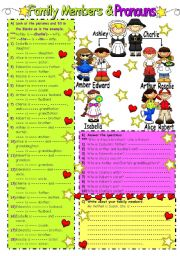English Worksheet: Family Member�s&Pronouns&Possessive Case (B&W included)
