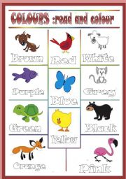 English Worksheets: Colored animals *editable*