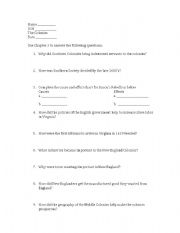 English Worksheets: Colonial Economies