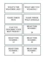 English Worksheet: Cards for board games (e.g. snakes and ladders) 3/5
