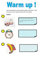 English Worksheets: warmp up,