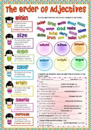 English Worksheet: The Order of Adjectives