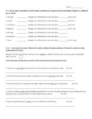 English Worksheets: Changing Parts of Speech + Vocab Development
