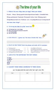 English Worksheet: The Time of Your Life (song by Green Day)