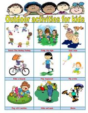 English Worksheets: Outdoor activities for kids
