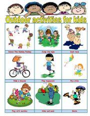 English Worksheet: Outdoor activities for kids