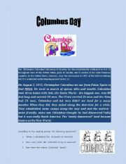 English Worksheets: Colombus�  Day
