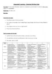 English Worksheets: Extended Writing Task