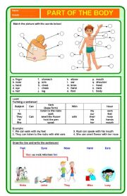 English Worksheets: Part of the body exercise
