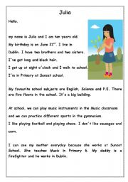 English Worksheets: Julia Reading Comprehension