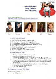 English Worksheet: How I Met Your Mother, Season 1, Episode 3, The Liberty Bell