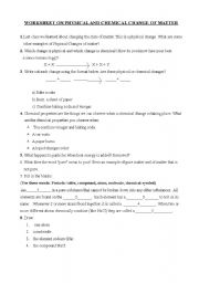 English Worksheets: Chemical & Physical Changes