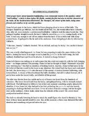 English Worksheet: SPANISH BULLFIGHTING