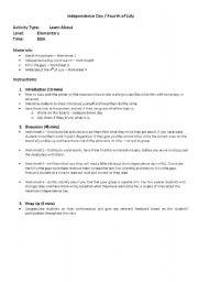 English worksheet: Independance Day