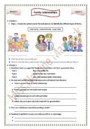 English Worksheet: Module 1 Lesson 1 Family relationships