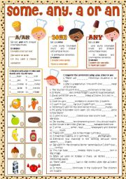 English Worksheet: Some, Any, A/an