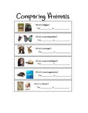 English Worksheet: Comparing Animals