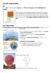 English worksheet: AIR AND ATMOSPHERE