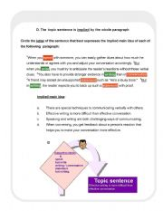 English Worksheet: Finding the main idea of the paragraph