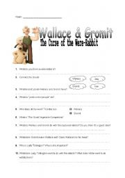 Wallace and Gromit and the curse of the Were-Rabbit worksheet