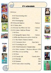 English Worksheet: TV schedule