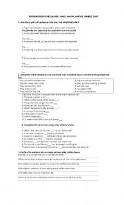 relative clauses worksheet by austinahonores. Black Bedroom Furniture Sets. Home Design Ideas
