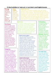 English Worksheets: Class activities