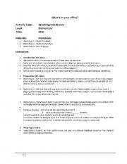 English worksheet: What´s In Your Office - Part 1