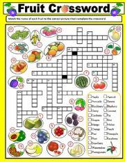 Printable Crossword Puzzles Esl Vegetable Vocabulary Worksheets