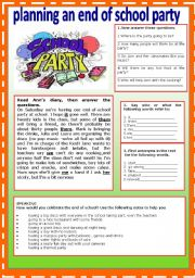 English Worksheet: Planning an end of school party