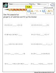 english worksheets associative property of addition english worksheet associative property of addition