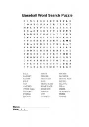 English Worksheet: Baseball Word Search Puzzle