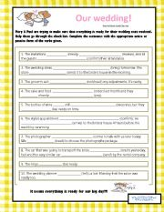 English Worksheet: OUR WEDDING - Active & Passive
