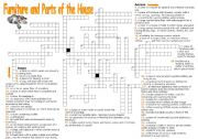 English Worksheet: Furniture and Parts of the House - Crossword Puzzle