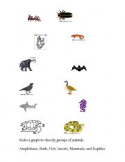 English Worksheets: Classifying Groups of Animals