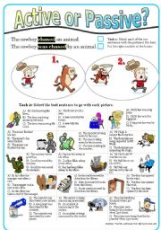 English Worksheet: Active or Passive? (5) Multiple choice exercises (with KEY) in mixed tenses