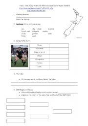 English Worksheet: Video:  Total Rugby � Postcards from New Zealand in Rotorua with Wayne Shelford - Part 1