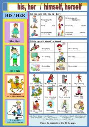 English Worksheet: His,Her / himself, herself