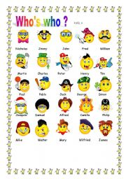English Worksheets: Who�s who ?