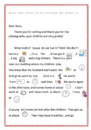 writing a letter revision of time and vocabulary esl worksheet by