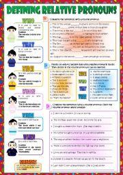 English Worksheet: Defining Relative Pronouns