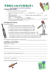 English Worksheet: VIDEO ON CRICKET + KEY