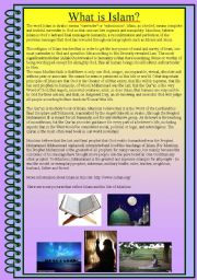 English Worksheets: A one-paper introduction to Islam: What is Islam?