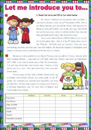 English Worksheet: Let me introduce you to...  - Reading Comprehension